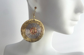 """2"""" Round Tri-Tone Woven Brass Earrings. Made in India."""
