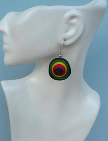 "Rasta Sombrero (Hat) Earrings  2.5"" Mini Rasta Hat Earrings. Made in Peru."