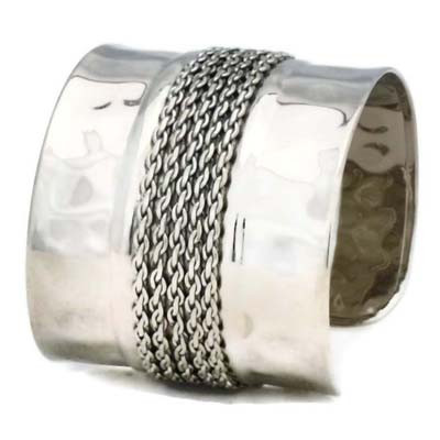 Hammered Cuff & Link Chain Bracelet