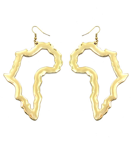 "4"" Gold Africa Map Cut-out earrings."