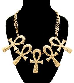 Hammered Golden Ankh Pendant Necklace