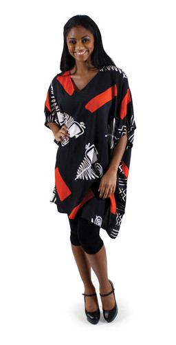 "Long tunic top in geometric patterns and symbols. One size fits up to 48"" bust, 39"" long. Made in China. 100% Polyester."
