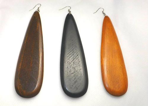 """5"""" Wooden Teardrop Earrings. Long Teardrop Wooden Earrings  Dark Brown, Black and Medium Brown.  Made in China."""