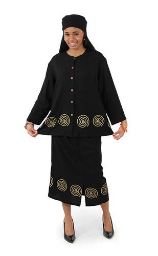 Cowrie Button-Top & Pencil-Skirt Set