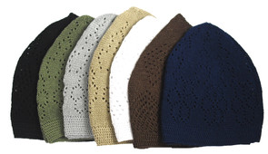 "Knitted Kufi Prayer Caps  Made in cotton and vary from 16-22"" circumference.  Colors: Black, Dark Brown, Dark Green, Kelly Green, Beige, Taupe, White, Celery Green, Navy Blue and more.  Made in India."