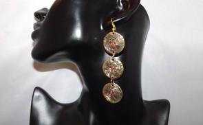 """3.5"""" Triple Drop Woven Brass Earrings.  1"""" pendant from top to bottom."""