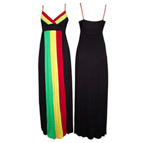 "Full Length Rasta Ball Empress Dress.  95% Rayon and 5% Spandex Padded Busts High Empire Waist Fits up to a 38"" bust Full length to 55""   Note: Dress may be on the sheer side...proceed with caution."