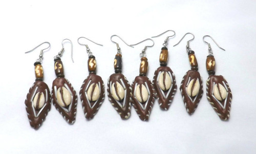 """Leather & Cowrie Shell Earrings  3"""" Brown Leather/Cowrie Shell Earrings...get the set of four (4). Made in the Philippines."""