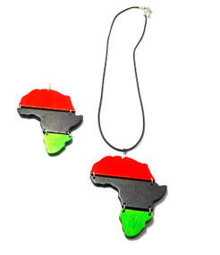 "Embrace your heritage with this Red, Black, & Green Africa Map Necklace & Earring Set.  Necklace is 12"" with adjustable chain link. Pendant is 3"", and earrings are 4"""