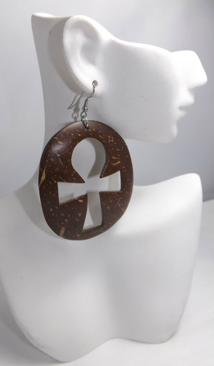 "2.5"" Brown Coconut Shell Ankh Earrings  Bold and beautiful handmade Ankh coconut shell earrings.  Markings on the earrings are natural."
