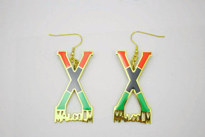 "Malcolm X Earrings  2"" metal earrings  Red/Black/Green African colors"