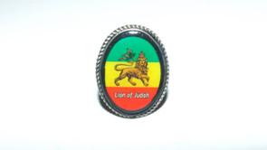 Lion of Judah Finger Rings  Oval acrylic Lion of Judah adjustable ring.  Sizes S, M, L.