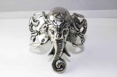 """Silver Lucky Elephant Head cuff bracelet  1.5"""" opening..slides only easy."""