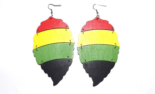 "4.5"" Big Leaf Rasta Earrings  These earrings can't be missed..they are lightweight and would go perfect with your short haircut.   Made in China."