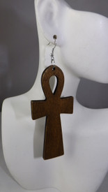 "4"" Wooden Ankh Earrings."