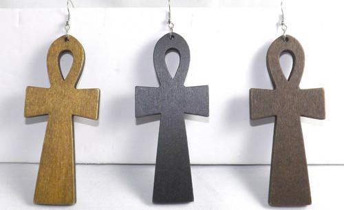 """4"""" Wooden Ankh Earrings.  (Medium Brown, Black or Dark Brown."""