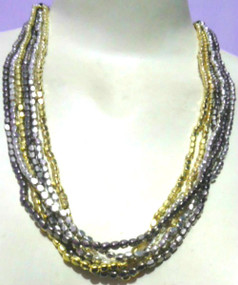 """Mixed Metals Metallic Multi-strand Necklace  3 Colors on this multi-strand necklace. 14"""" in length. Clasp Closure. Made in India."""