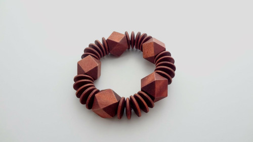 Brown Block Wooden Disc Bracelet  One size fits most, elastic style. Made in India.