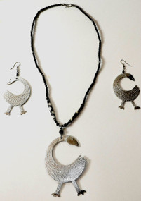 "Sankofa Set-Eye catching and a conversation piece adinkra symbol with a matching bib like necklace. Earrings are 3.5"" and necklace is 16-18"" long."