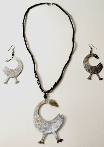 """Sankofa Set-Eye catching and a conversation piece adinkra symbol with a matching bib like necklace. Earrings are 3.5"""" and necklace is 16-18"""" long."""