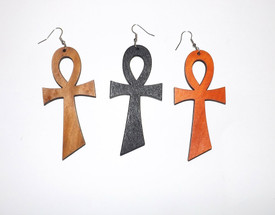 "3"" Wooden Ankh Earrings."