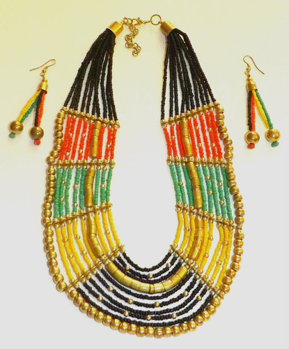 "Rasta Tiered Bib Necklace Set  12-14"" beaded necklace and 1.5"" earrings."