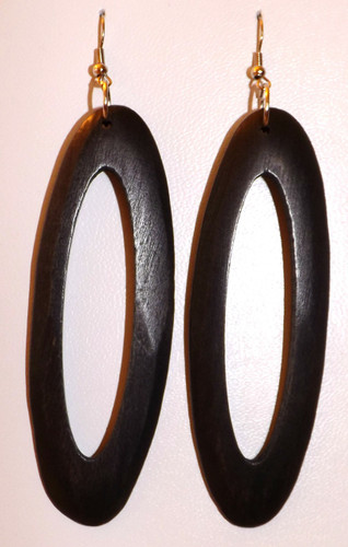 """Sleek Long Oval Wooden Hoop Earrings  Bring out the fashionista in you with a pair of long oval wooden hoop earrings. 5"""" in length."""