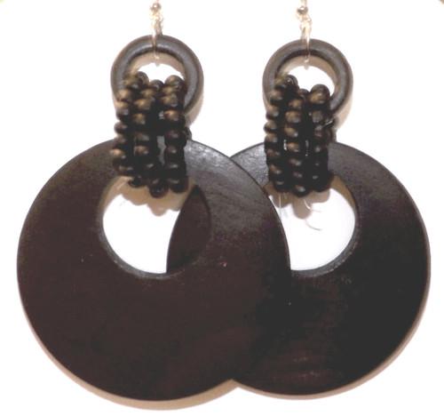 """2.5"""" Multi-beaded Wooden Hoop Earrings  Multi-beaded wooden hoop earrings in black, or dark brown."""
