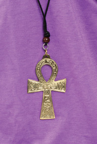"""4"""" Brass or Silver Ankh Necklaces  Pendant is 4"""" and necklace is adjustable up to 26"""" in length; black cotton cord."""