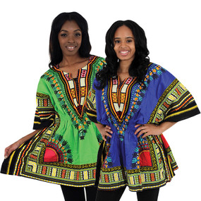 "Elastic Form Fitting Traditional Dashiki Top  Has a form fitting elastic waist. Fits up to a 42"" bust and around 32"" length. The border color on the dashiki may vary from the picture. One size fits all. Comes with two pockets.100% cotton. Made in Thailand."