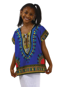 "Children's Dashiki Tops (Free Size)    100% cotton. Unisex. Free Size (Fits up to a 38"" chest; length is 24"".  Hand wash cold water with like colors, line dry. Colors: Royal blue.    Made in India"