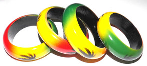 "Rasta Weed Leaf Wooden Bangle  2"" wide wooden bangle. Reggae vibes, sexy irie vibes."
