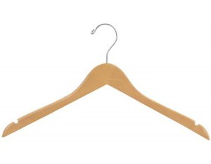 This flat natural top wooden hanger with a chrome swivel hook and notches in shoulder ideal for hanging straps. Finished with a durable coating of clear lacquer.