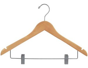 This flat wooden hanger with durable clear varnish on layer ,a chrome swivel hook, and a chrome bar with adjustable, large clips -non-staining  for hanging sets. notches in shoulder are ideal for hanging straps.