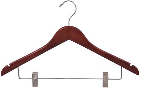 This wooden hanger with , polished chrome swivel hook, and a set of polished chrome clips with clear cushions for hanging pants or skirts and two notches in shoulder ideal for hanging straps. its flat body can save a lot of space for you.