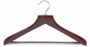 This deluxe suit wooden hanger is made from the finest of hardwoods. They feature a polished steel,   finished with multiple coatings of clear lacquer which can prevent splintering. a non-slip vinyl covered bar to prevent pants from creasing and falling. The 2 inches wide shoulders will perfectly preserve the shape of any suits.