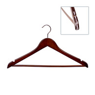 These exquisite precision crafted hangers are made from the finest hardwood. They feature a heavy gauged, European ball end swivel hook in polished chrome and are finished with multiple coatings of lacquer to prevent splintering. A wooden pant bar with a rubber strip inlay prevents pants from slipping or creasing. With 14mm wide curved body, these hangers will preserve the shape of any suit and will extend the life of your garment.
