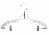43CM Clear Plastic Hanger With Clips (Sold in Bundles of 25/50/100)