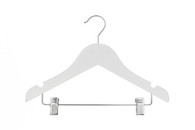 36CM  Baby White Wood Hanger With Clips (Sold in Bundles of 25/50/100)