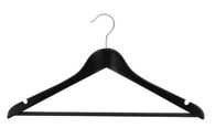 43CM Black Deluxe Wooden Hanger With Bar 20mm Thick (Sold in 5/25/50)