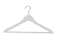 43CM White Wood Suit Hangers With Gold Hook 12mm Thick (Sold in 25/50/100)