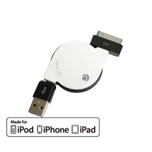 Apple 30-Pin MFI Retractable Cable for iPhone/iPad/iPod (White)