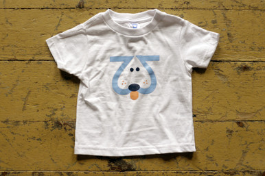 "Our twin ""Playful Puppy"" toddler tee in blue. This Playful Puppy is designed with the number 2, of course, giving it cuteness X2!"