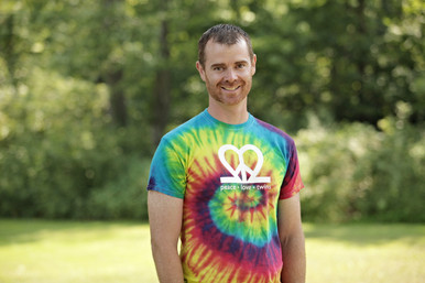 "Our fun ""Peace.Love.Twins"" tie-dye adult tee is the perfect tee for summer! It's super soft and bursting with color. Features our logo on the back neck line in white ink."