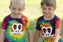 "Our ""Peace.Love.Twins"" tie-dye twin toddler t-shirt set is bursting with color!"