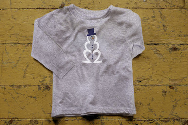 "Our twin ""Sparkling Snowman"" long sleeve tee features a snowman created with our signature number 2, simply adorable!"