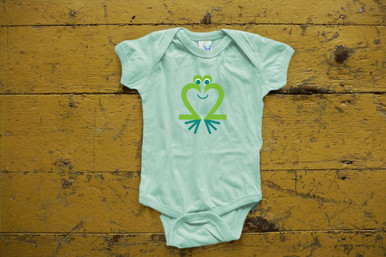 "Our twin ""Friendly Frog"" bodysuit twin set features our Friendly Frog in green ink on a light green bodysuit."