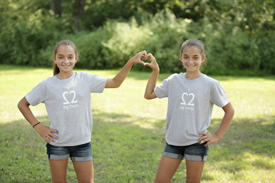 "Our twin youth t-shirt set features ""I Love My Twin"" in grey with white ink on the front."