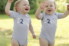 "Our ""2 Cute"" Infant twin set is available in grey with either a dark navy ink 2 or a pink 2. Also features our logo in dark navy ink on the back."