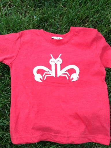 "Twin toddler t-shirt set. My Twins Are Cuter ""Clever Crab"" with a distressed white ink on a vintage red tee. Fun twin set."